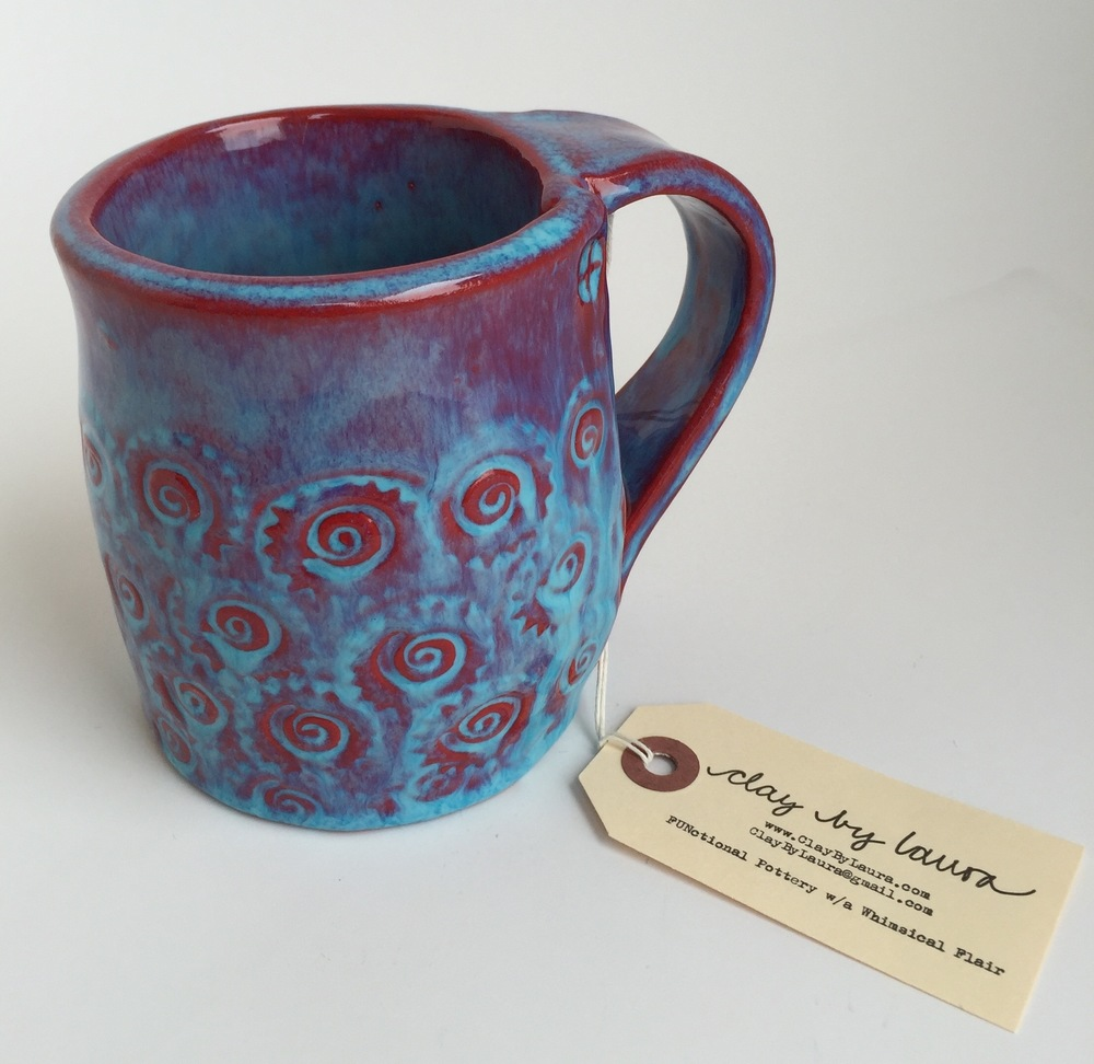I've just listed mugs for sale on my Purchase page. Enjoy your hot beverage of choice in these brightly colored and texturized vessels!