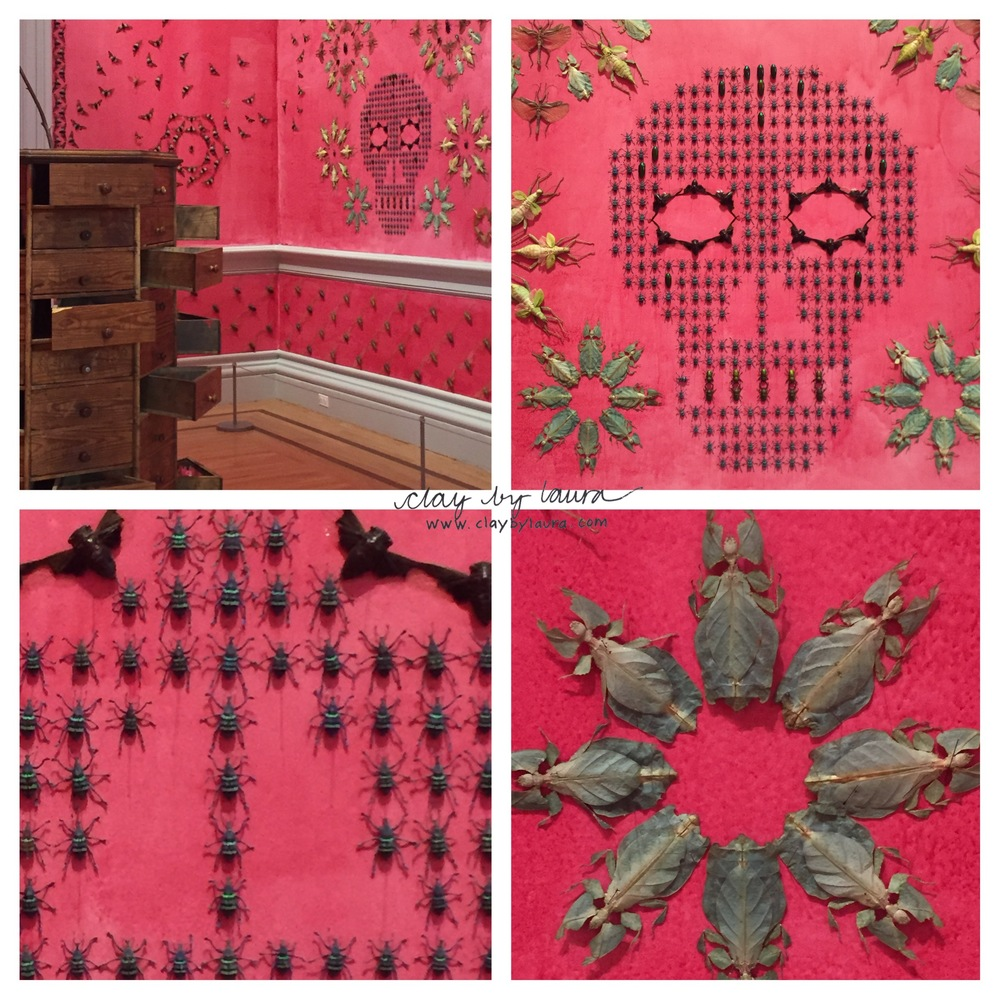 I had a chance to visit the newly renovated Renwick Gallery this past week. Each room of the museum was filled with a large installation by a different contemporary artist.  Jennifer Angus  created a jaw-dropping room decorated entirely with insects. Even the pink color-wash of the walls were created with bugs. It was fun to see the variety of everyday materials and nature used in each artist's creation.