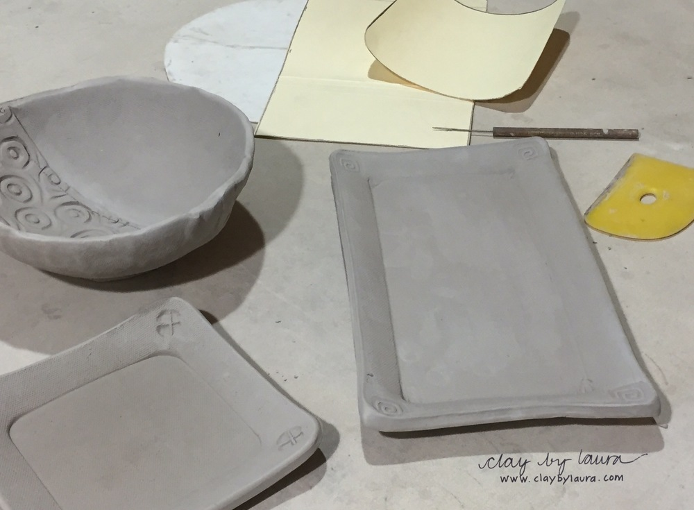 This week in the studio I began a set of dishes for my daughter. She's been asking me to make these to replace a set I made several years ago when I primarily worked on the potters wheel. I chose useful shapes that I think will stack well in her kitchen cabinets. Next we'll make a decision about the color scheme.