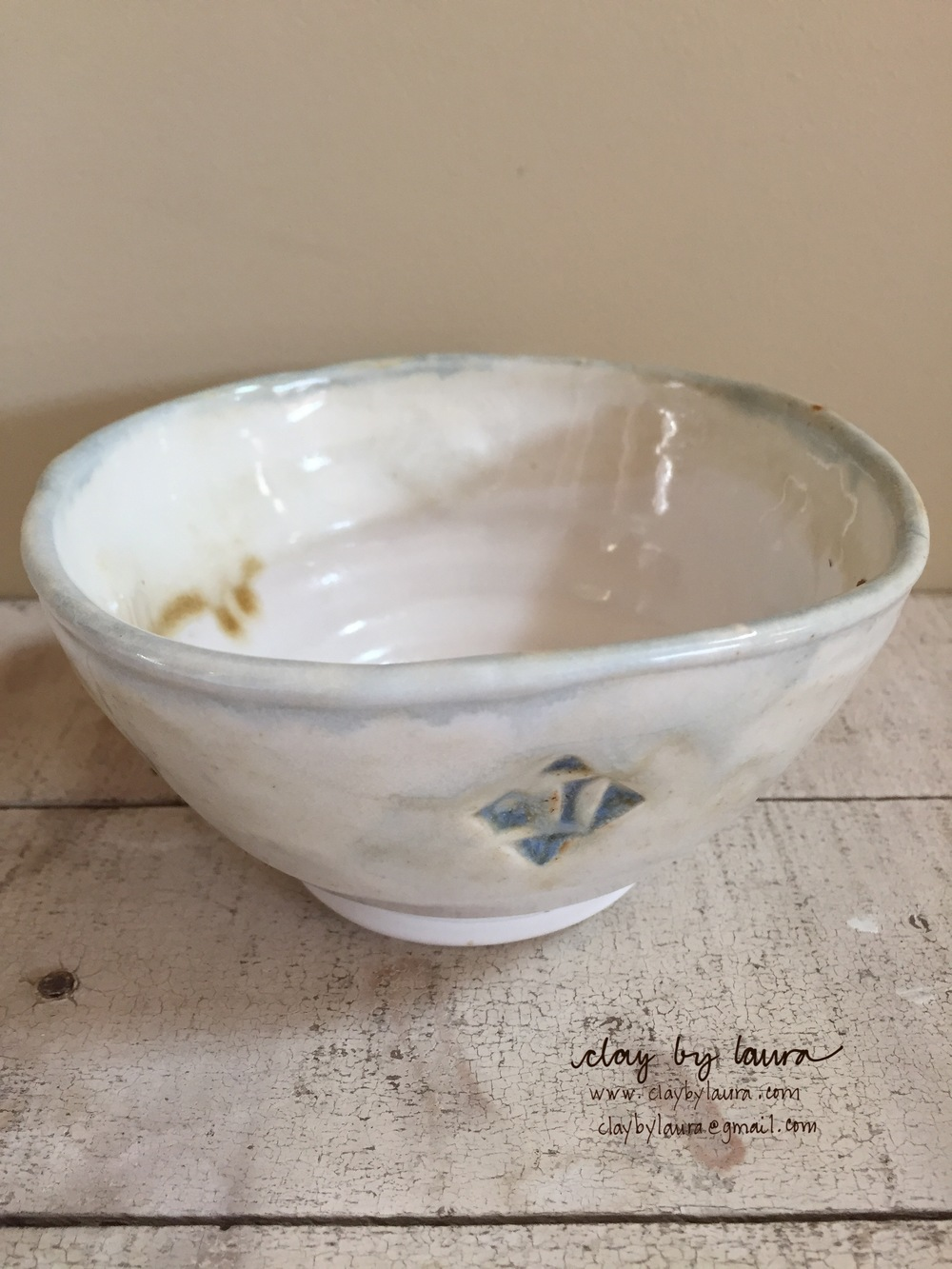 I recently received this bowl in a trade with another potter. Each time I use it, I'm not only reminded of the potter and incredible food blogger, Deb Bernstein that created it -- but I'm also grateful for the generosity of the clay community I'm lucky to be part of.