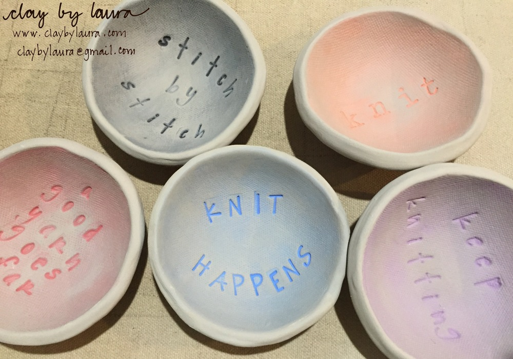 These little bowls are in process for a special yarn pop-up shop in early May. I'm trying out some new glaze techniques and wording with these new shapes. Click on the photo to find out more about this special yarn sale!