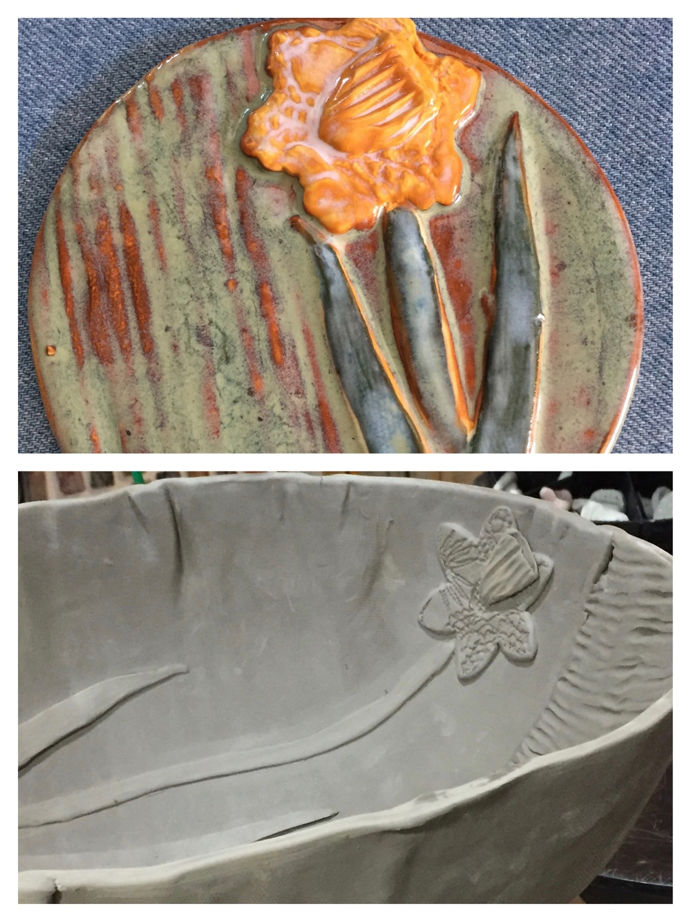 I've been working on a daffodil design for a customer. Each Spring he invites guests to view his vast meadows brimming with these beautiful flowers. He asked me to make a piece for him that incorporated a daffodil in the design. I made this test tile to see how the glaze would come out before I applied it to the large centerpiece bowl I've created for his home. I'm happy with the results.