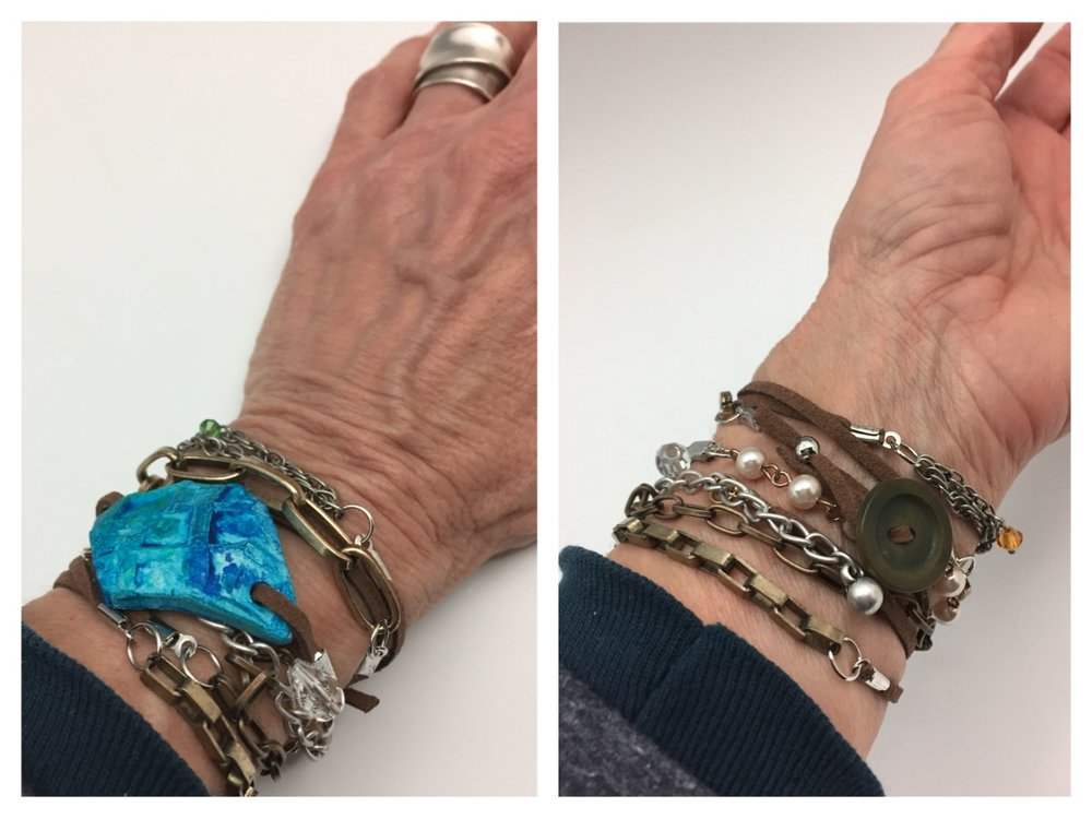 I've just created a wrap bracelet incorporating a decorated piece of my clay and recycled bits of old jewelry. Here's the prototype I've made. You'll be able to create one of these too in an upcoming class through The Muse in Frederick, Md. If you can't make it, would you like me to make one for you?  Click on this photo to let me know!