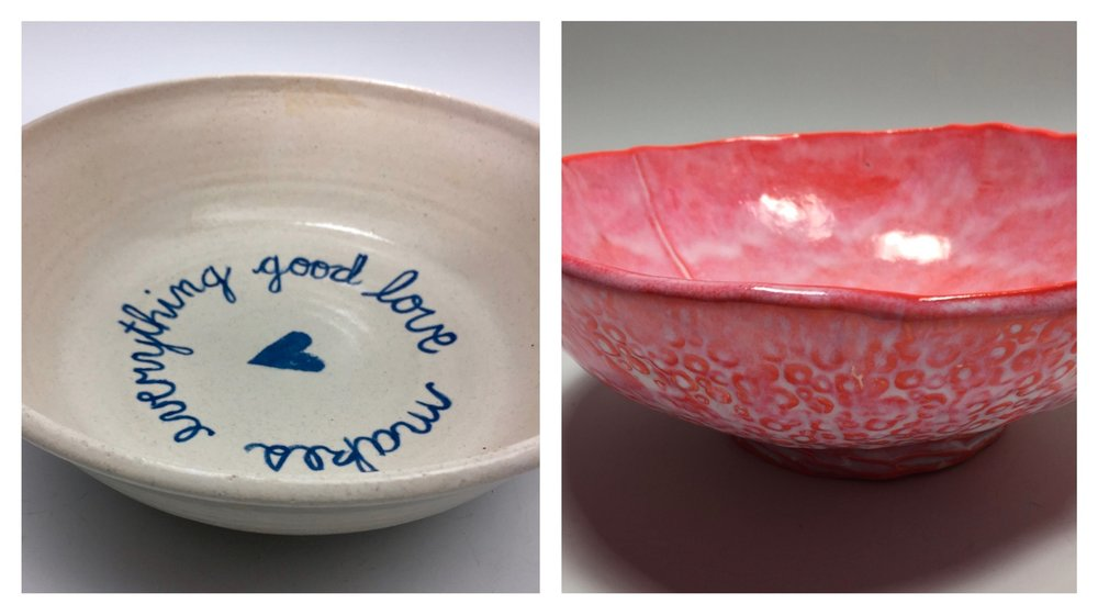 I made the bowl on the left many years ago with a potter's wheel. The bowl on the right was created more recently using a slab of clay pushed into shape over a mini basketball. Each one is a functional bowl; the aesthetic is different and shows how my clay art has evolved.