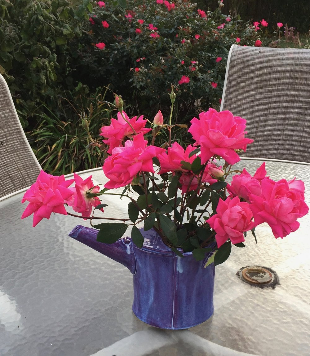 Watering cans can double as a vase to hold your garden's beautiful bounty! Click on photo to shop.