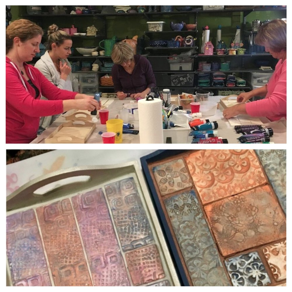 My neighbor Candace hosted a tray decorating party in my studio this weekend with several of her friends. It was a fun opportunity to share my studio space, create a decorative tray and make new friends!