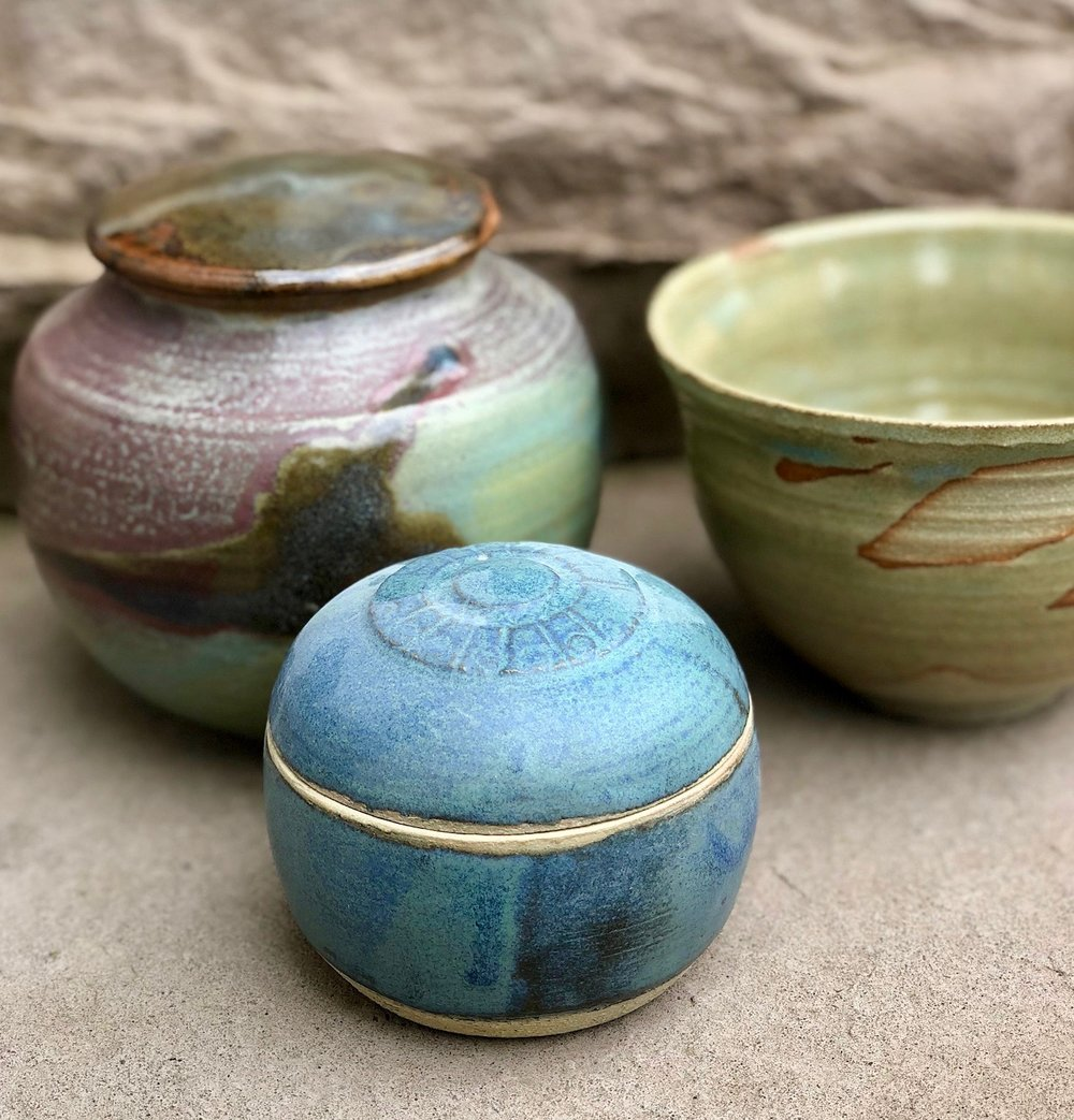 In 1982, I used a potter's wheel to create my finished pieces.