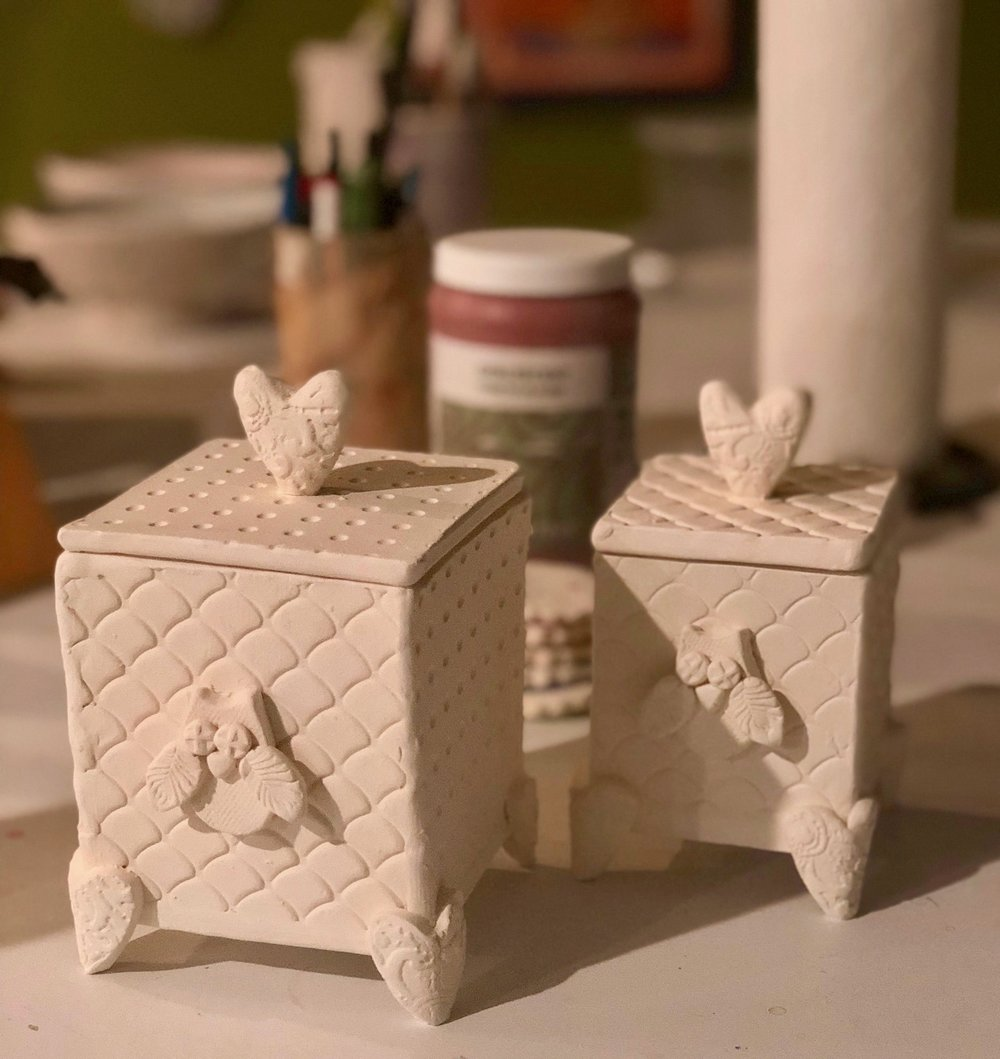 These owl-themed memorial boxes will hold some of the ashes of my mother-in-law, Helene.