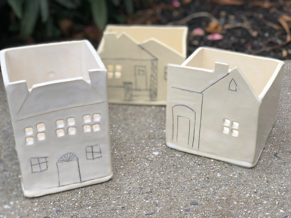 When I'm creating a prototype, I sometimes take the pieces through the final firing even with evident flaws. I learn from the process, can test different glaze finishes and apply my knowledge to the successful production next time. These little historic house boxes will be sold at Harrison Brothers Hardware to help raise money for the  Historic Huntsville Foundation .