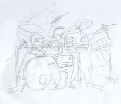 Rough pencil sketch of Chad, well, mostly Chad's drum kit.