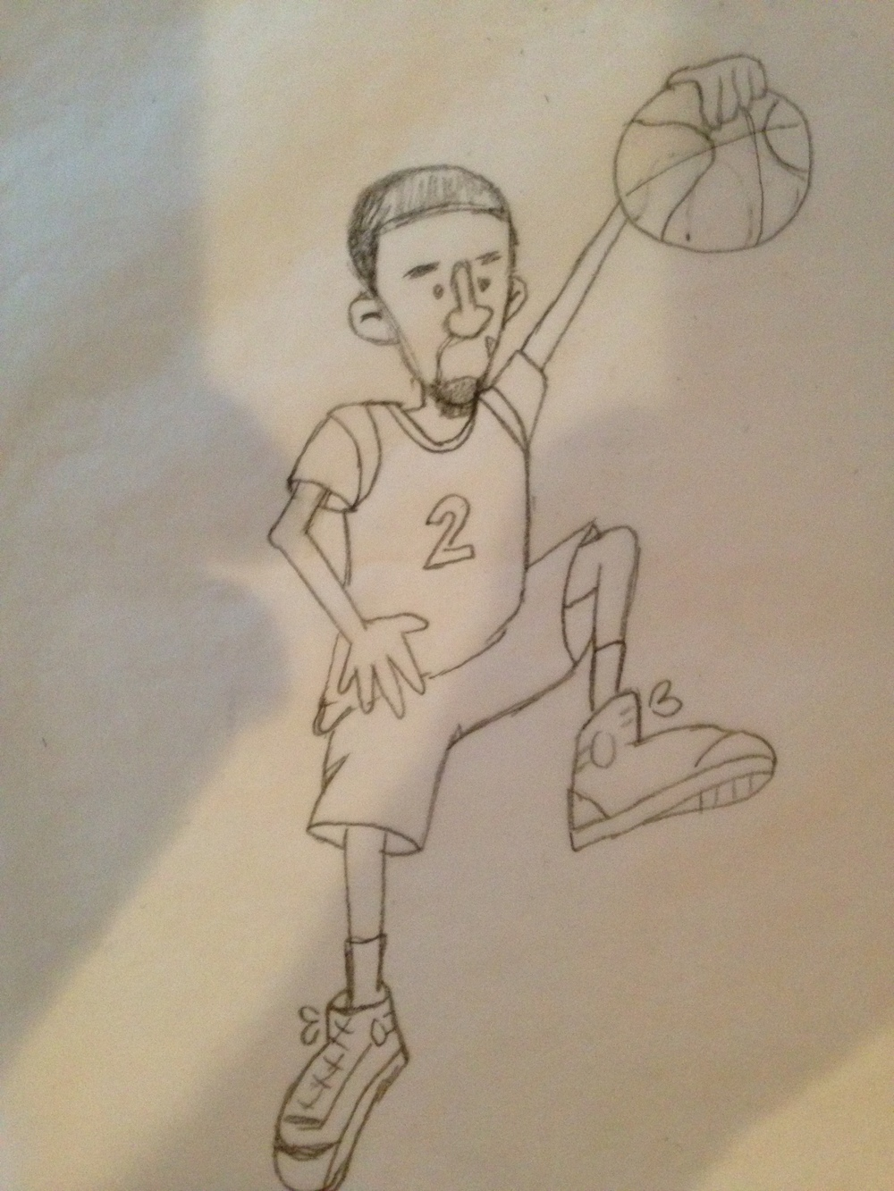 My cleaned up sketch of Russ taken with my iPhone. Awkward right hand: check. Marvin the Martian sneakers: check.