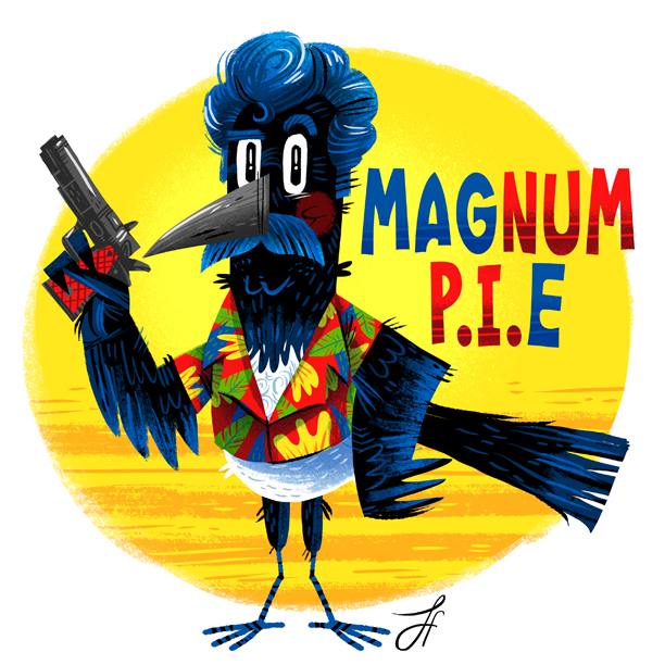 Art by Luke Flowers mashing up a magpie and Magnum P.I. (for magpiethat.com) which inspired the Daryl Heckle and Jeckle Oates piece.