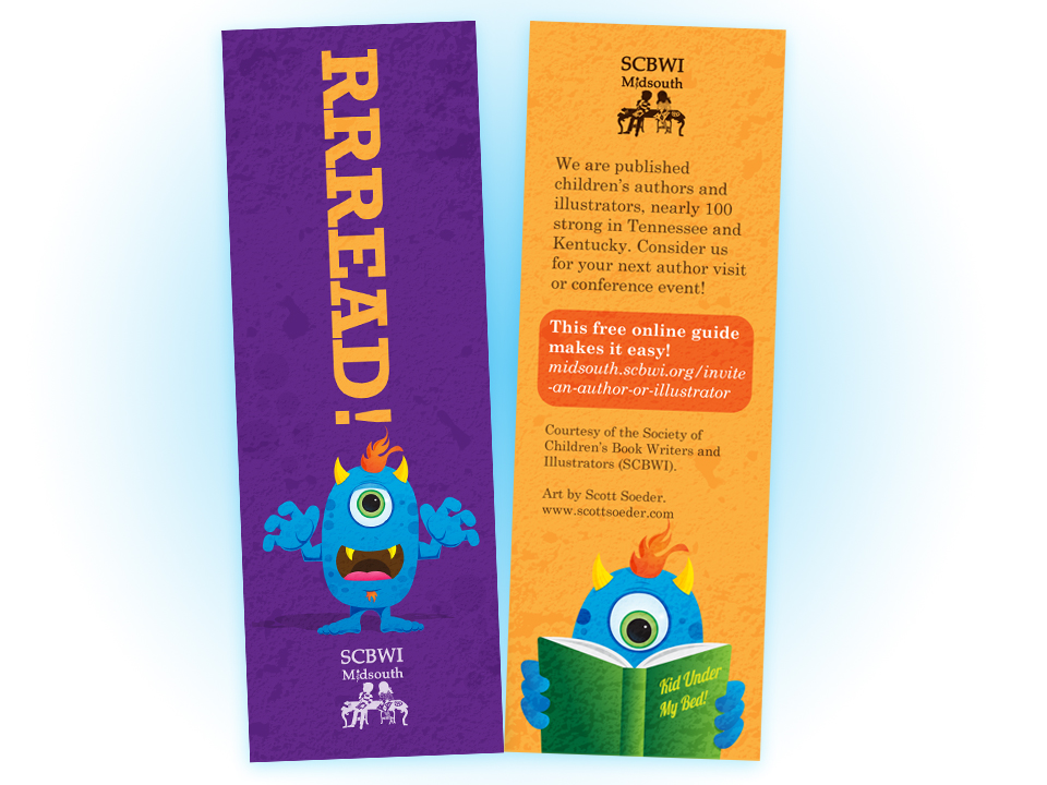 The Society of Children's Book Writers and Illustrators (SCBWI) Midsouth bookmark.