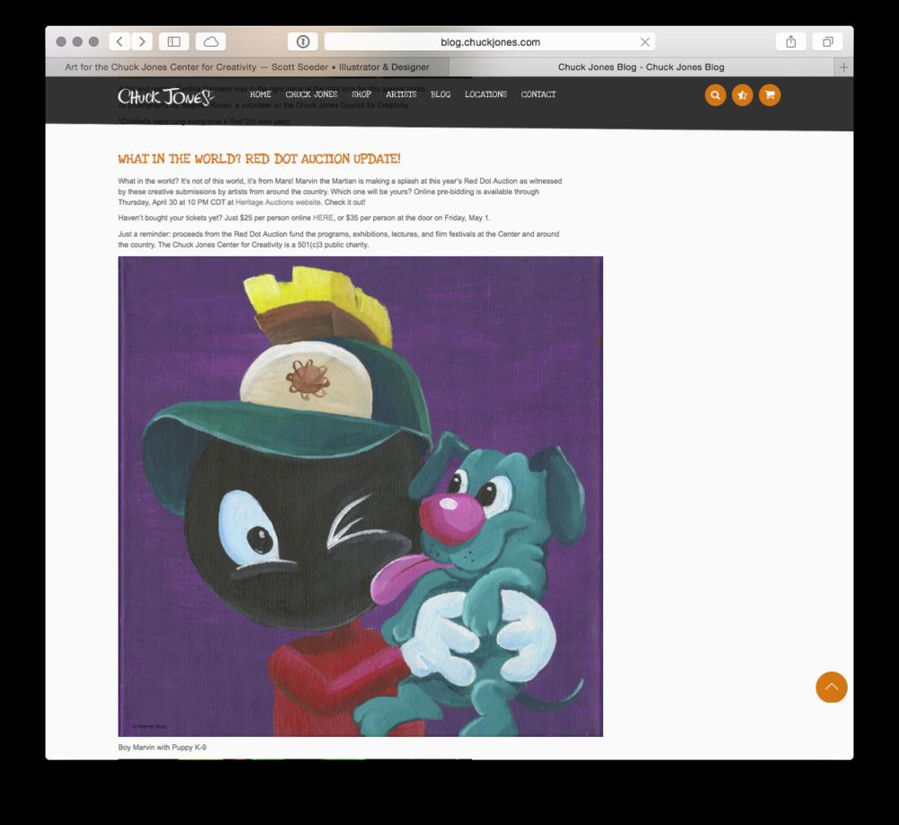 My Marvin piece featured on Chuck Jones' blog [ blog.chuckjones.com ] for a Red Dot Auction update!