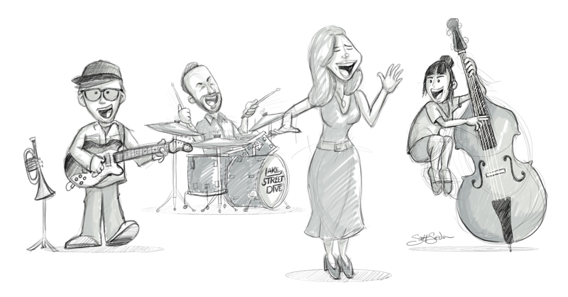 All four of the members of Lake Street Dive sketched. Again, digitally with Sketchbook Pro and a Wacom tablet.