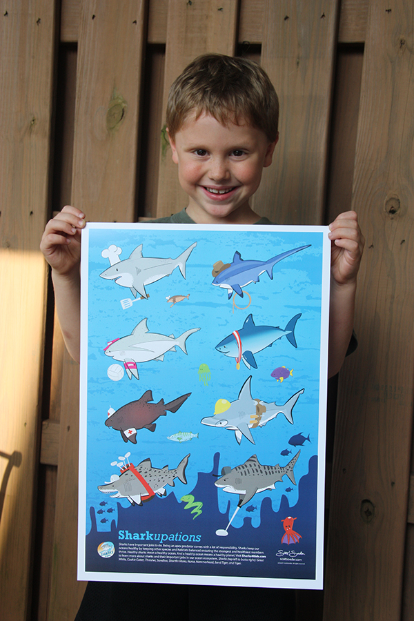 The final poster. You can purchase your very own Sharkupations print in the shop. A portion of the proceeds goes to benefit Sharks4kids.