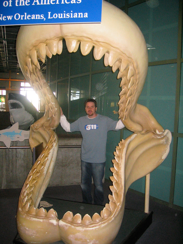 Inside the jaws of a Megalodon in New Orleans.