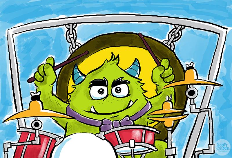 Boom Bashem. Drummer for the monster band, Onomatopoeia.