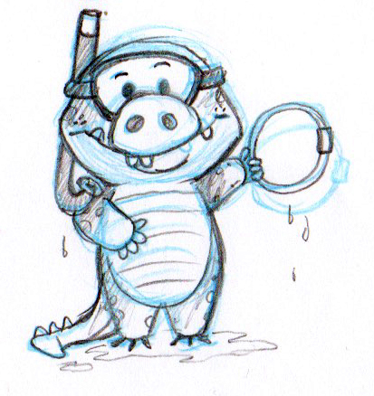 Rough sketch of a little gator after diving for a ring.