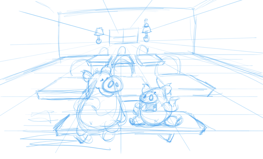 Rough sketch thinking about the camera angle.