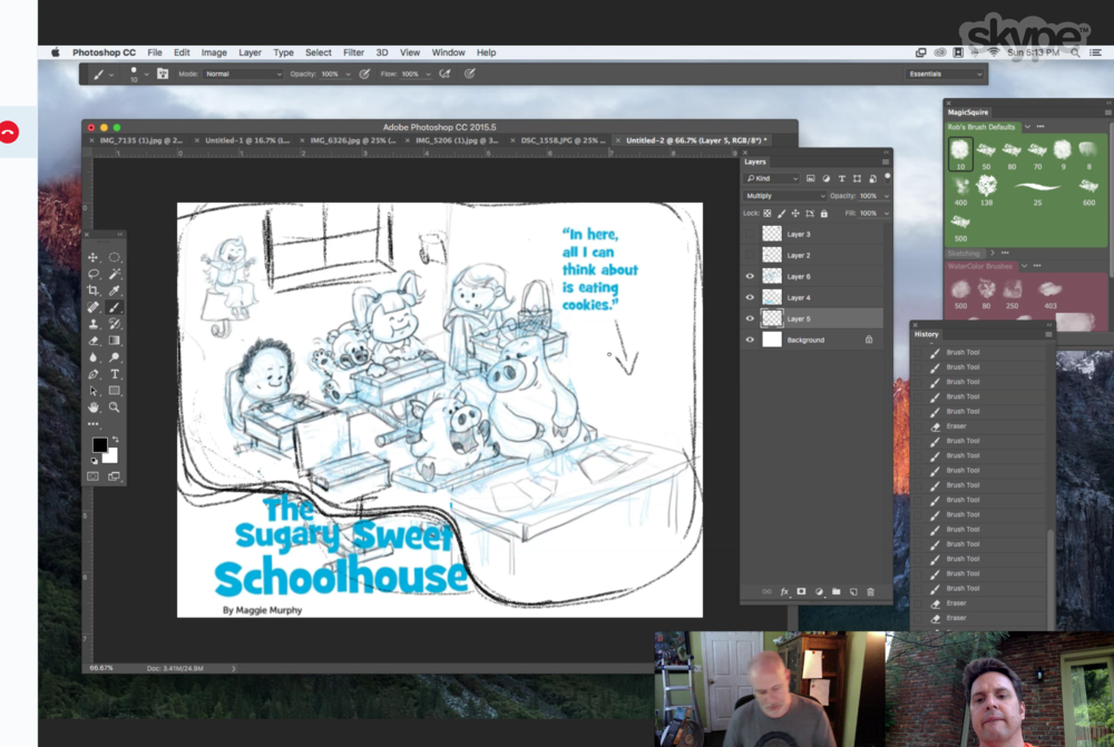 Skyping with Rob McClurkan. Rob is my crit group partner, illustrator and good friend. You may notice the original title was The Sugary Sweet Schoolhouse.