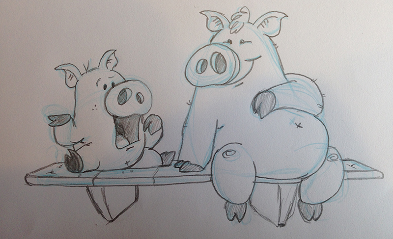 Really rough doodle of the two main characters, Little Pig and Middle Pig.