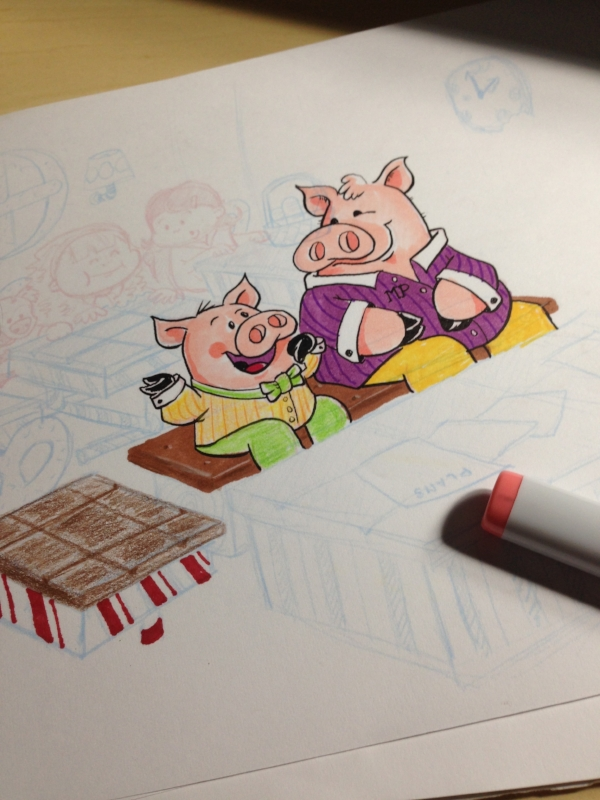 Considering color and details for the pigs and desks.