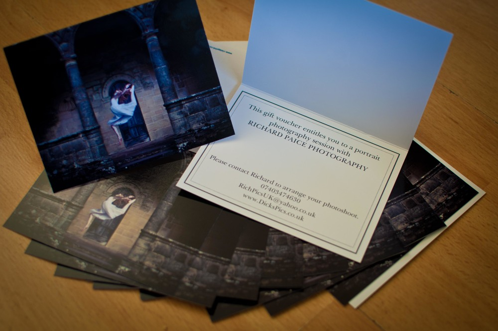 Gift Vouchers have arrived. Now you're able to buy a photoshoot for friends or family. As well as the shoot and a disk of all the images taken, the £55 pounds price includes an A3 print deliverd to them from Photobox.