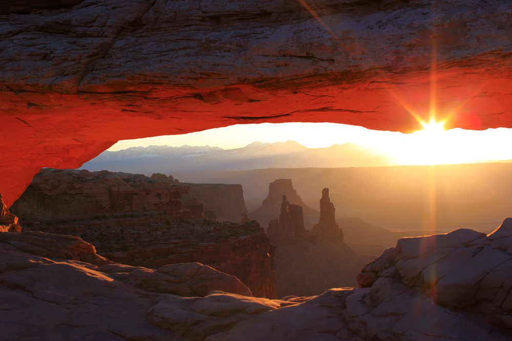 Mesa Arch is located in Canyonlands National Park. It is amazing how the bottom of the arch glows at sunrise.