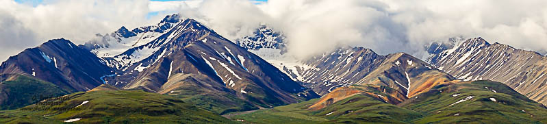 One of the beautiful valleys about 45 miles from the entrance of Denali National Park. The scenery is so stunning it is hard to capture in one frame so I took many panoramas.
