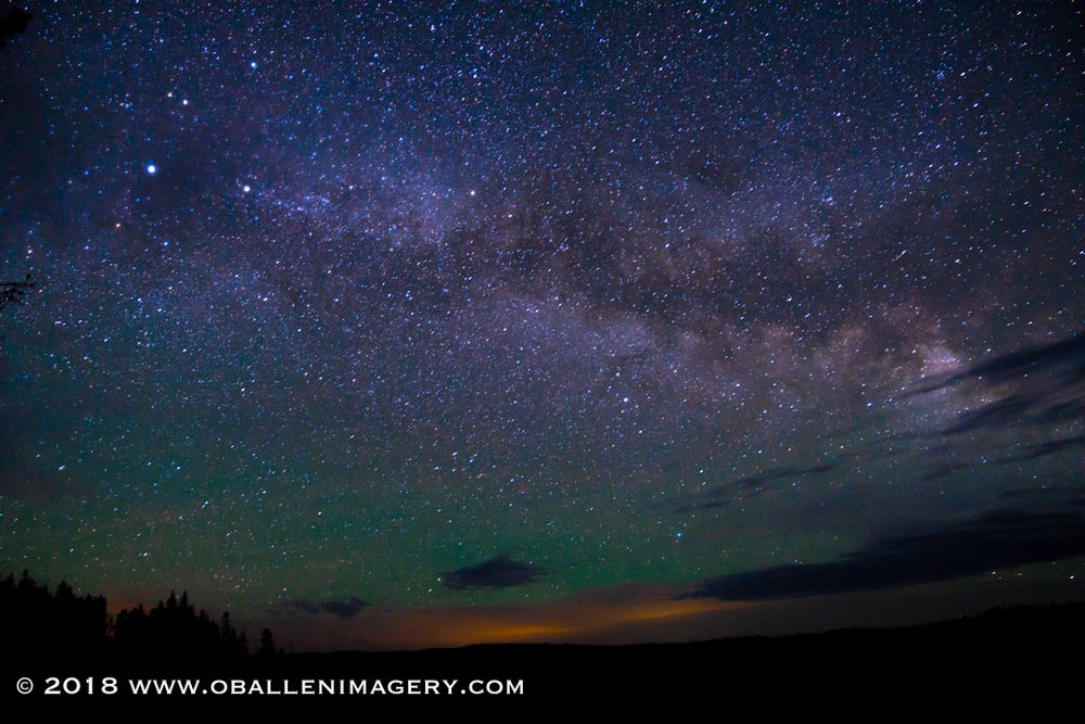 This image was taken from the Grand Canyon of the Yellowstone. The glow is from the Canyon Area.