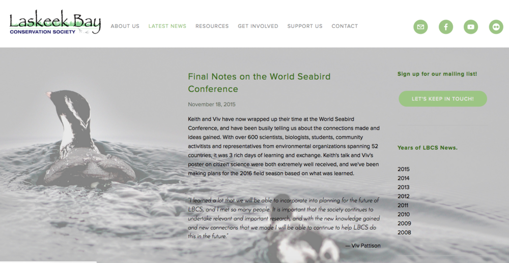 Website for a community-based conservation organization. Includes donation collection system.