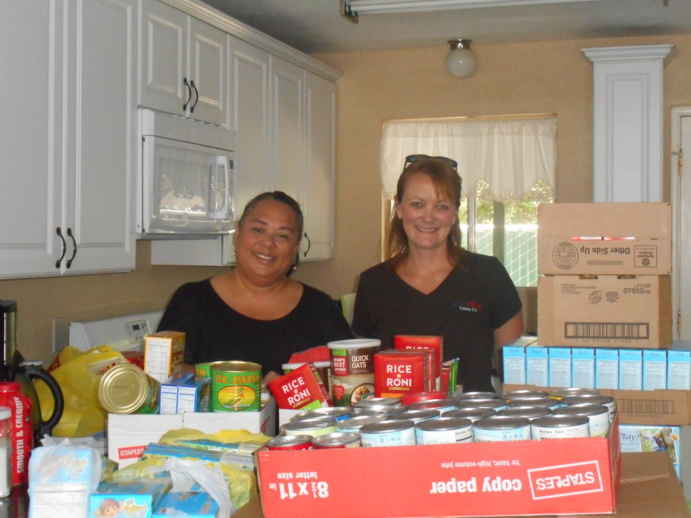 The employees from Kraft Heinz Company in Tulare had a canned food drive for the Women's Shelter and the brought us an amazing amount of items. This shelter clearly is a community effort.