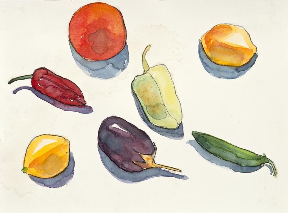 Still Life Peppers Lemons