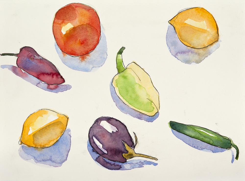 Still Life Peppers Lemons 2