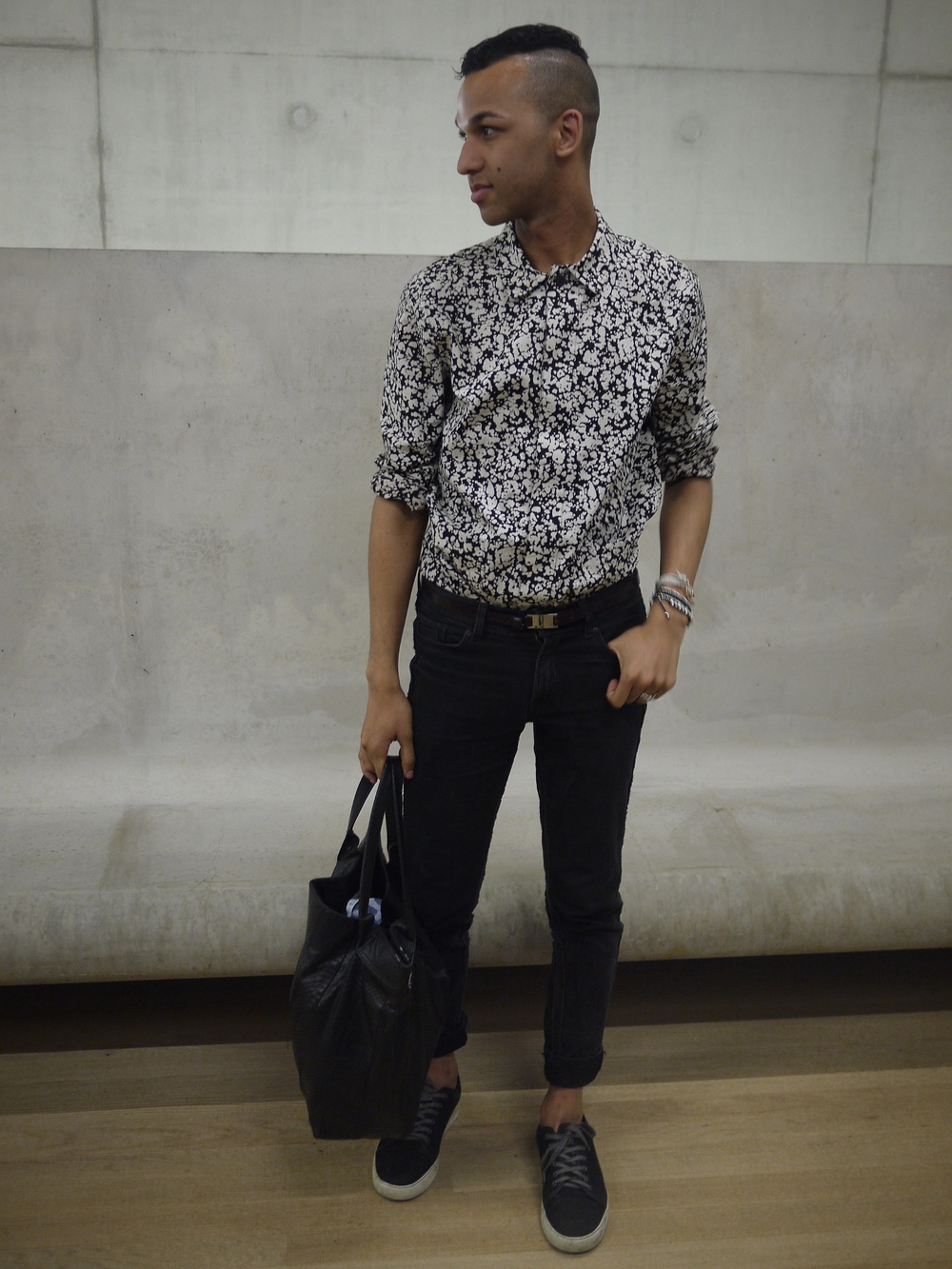 Wearing : Christophe Kane overshirt, Lanvin belt + shoes, HM studio Denim, Python + Watersnake tote, Miansai and links of london Bracelets