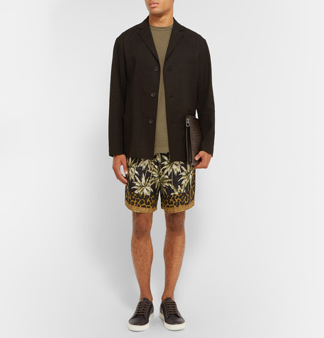 Lanvin trainers, Dries shorts, Bottega Pouch