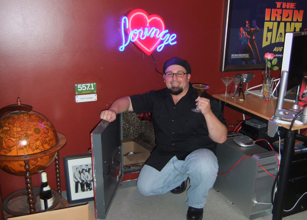 Animator Adam Burke at the entrance to the Love Lounge, Pixar, Emeryville, CA