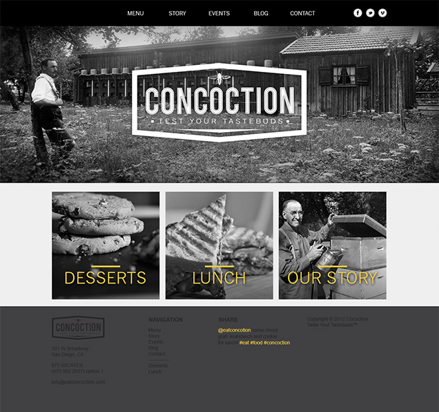 Concoction - Homepage Design