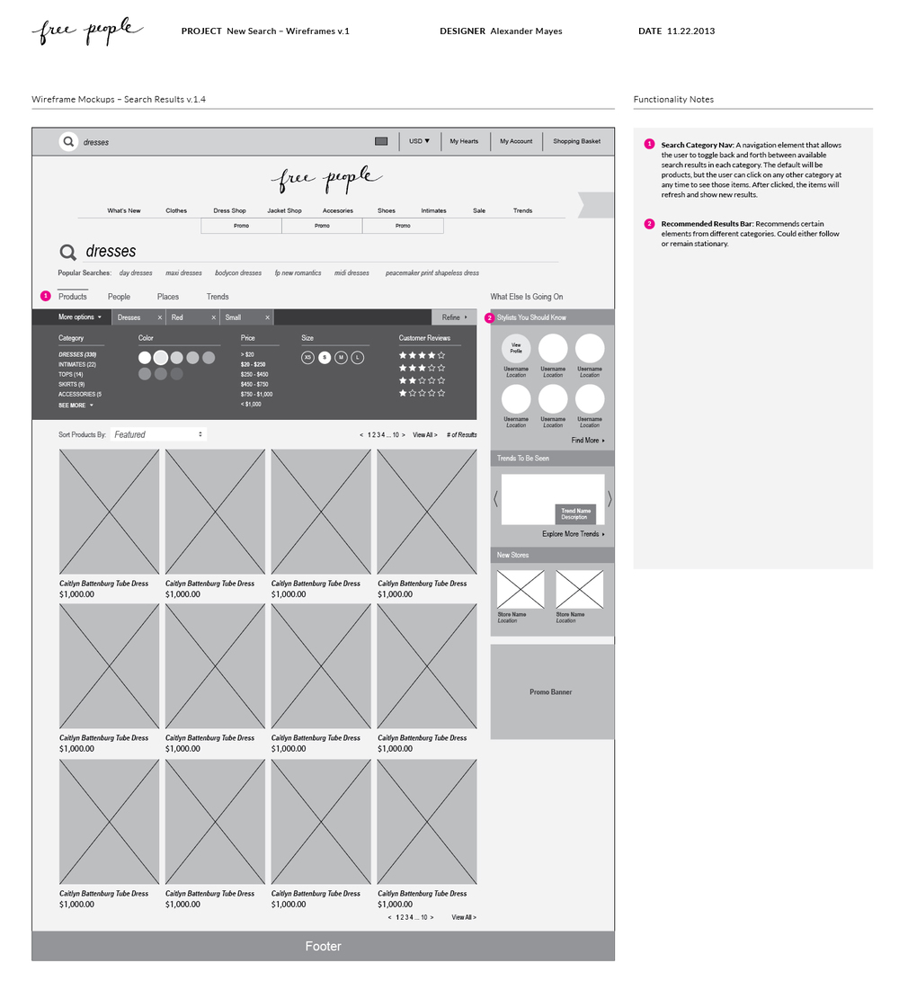 Free People Search Results - Wireframe v.4