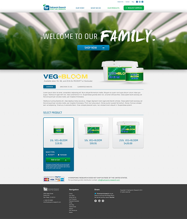 Hydroponic Research - Product Page Design
