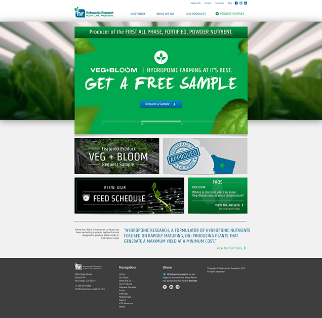 Hydroponic Research - Homepage Design