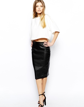 Love the leather and the length of this skirt.  ASOS  $56.46.