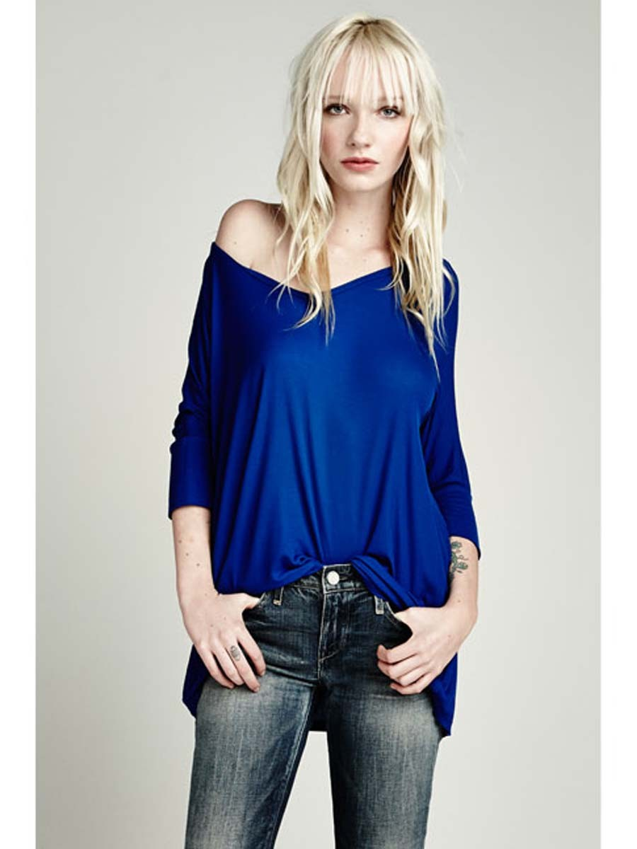 I want to pair this drapey tee with shorts, asap. Michael Lauren, $68