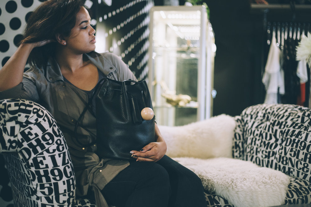 Daydreaming about buying all of the jewelry and handbags.Yes, all. Building Blockbucketbag, $485.
