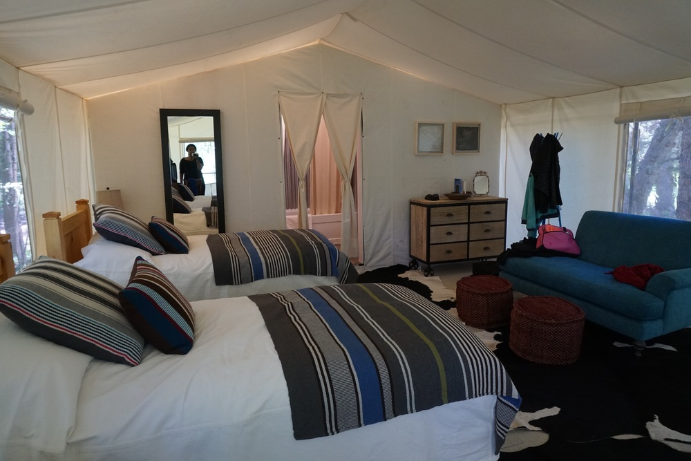 Inside the Johnny Bull tent, home for the weekend.