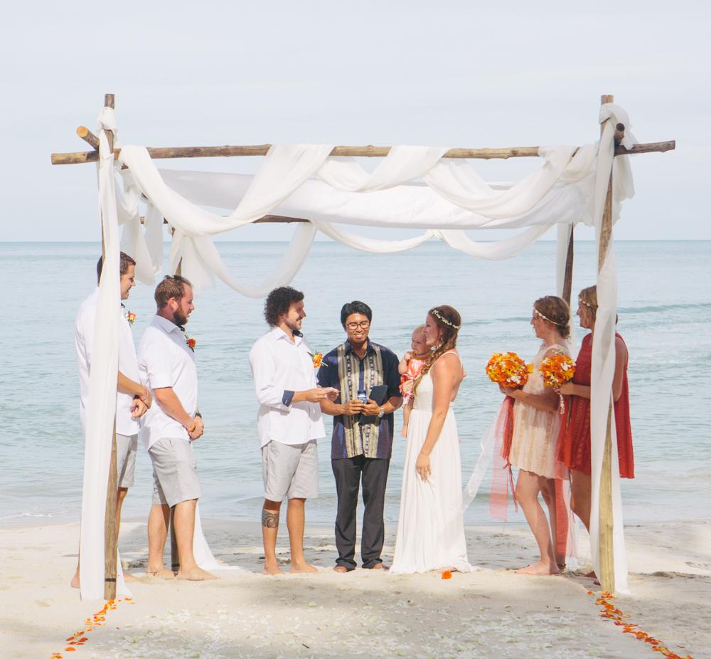 bride and groom at ceremony, thailand destination wedding, haad yuan