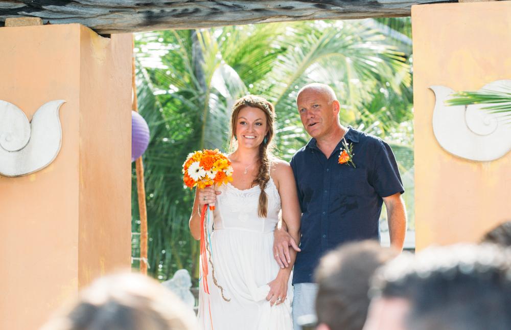 bride and father walk down isle thailand wedding