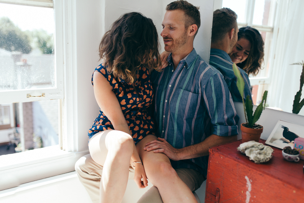 Couple enjoys time together intimate at-home engagement session in Victoria BC
