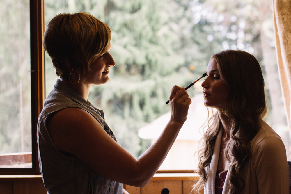 Bride having her make up King Francis Park Forest Wedding Ceremony Vancouver Island